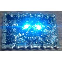 LED пряжка Синий череп
